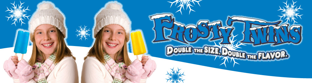 Frosty Twins : Troyer's Frozen Novelties, formally Imperial Popsicles, Old Fashion Flavor made in Ohio